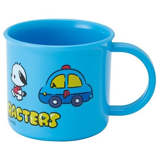 小禮堂 Sanrio大集合 日製 單耳塑膠杯 兒童水杯 漱口杯 200ml (藍 車車) 4973307-49999