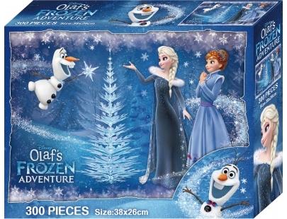【台灣製】盒裝拼圖-冰雪奇緣 雪寶的佳節冒險(300片) #QFQ09B