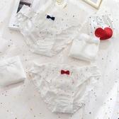仙女系白色內褲女純棉無痕冰絲夏季薄款透氣少女蕾絲女士中腰褲頭