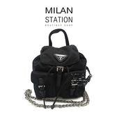 【台中米蘭站】PRADA黑色降落傘布MINI 銀鍊後背造型小斜背包