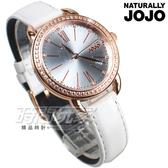 NATURALLY JOJO 羅馬時刻 歐洲風情 晶鑽錶框點綴 藍寶石水晶 皮帶 女錶 白色 JO96902-54R