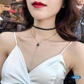 項鍊韓國黑色性感鎖骨鍊簡約短款項鍊choker項圈頸帶脖子飾品頸鍊女 全館免運