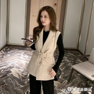 西裝馬甲 西裝領無袖馬甲外套女2021早秋新款韓版小個子工裝系腰帶馬夾上衣 愛麗絲
