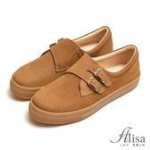 專櫃女鞋 雙皮釦絨布懶人鞋-艾莉莎Alisa【216816】棕色下單區