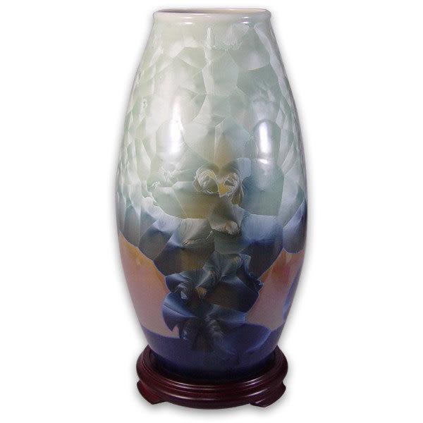 鹿港窯~居家開運結晶釉花瓶~13.5英吋橄欖瓶;購物清單:1件