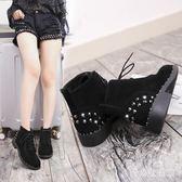 裸靴 秋冬新款平底低跟鉚釘女鞋歐美女防滑馬丁靴 AW5540『愛尚生活館』
