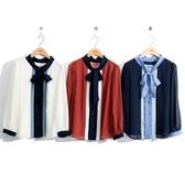 秋裝販促[H2O]MIT拼色剪接雪紡綁帶上衣 - 桔/藍/白色 #0665001