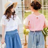 童裝2019夏裝女童純棉寬鬆洋氣T恤蕾絲花邊短袖娃娃衫中大童上衣奇思妙想屋