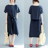 連身裙-短袖簡約純色綁帶優雅女洋裝73te30【巴黎精品】
