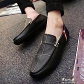 新款秋季韓版潮流男鞋休閒豆豆鞋百搭一腳蹬懶人皮鞋開車潮鞋伊莎公主
