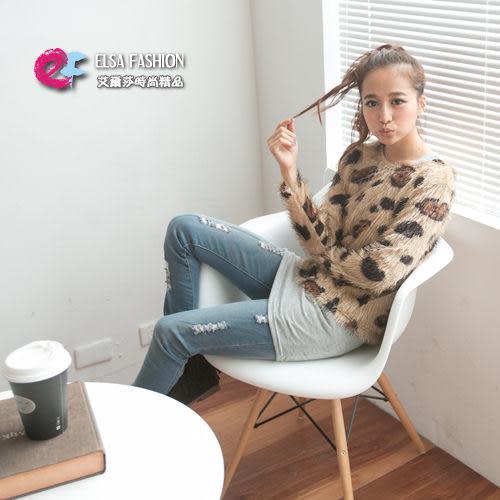 罩衫*艾爾莎*【TAD8841】時尚一字領圓領豹紋愛心長袖罩衫