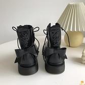 馬丁靴夏季薄款蝴蝶結女短靴英倫風單靴子【慢客生活】