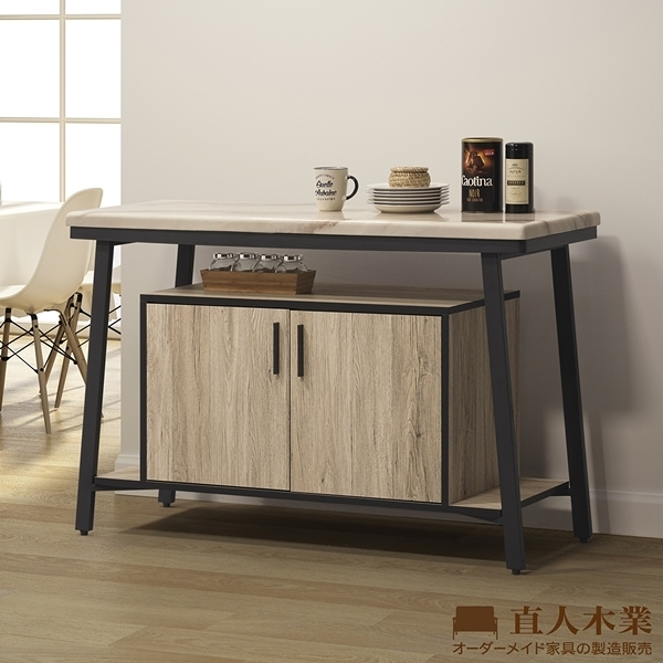 日本直人木業-value北美橡木鐵架120CM天然原石廚櫃