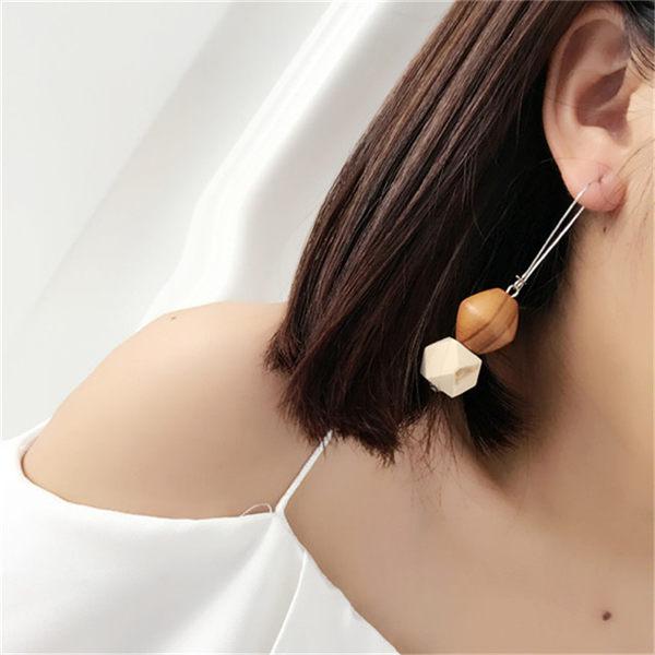預購-幾何木頭耳環