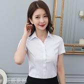 襯衫 女士襯衫女短袖職業正裝藍色工裝白色襯衣韓版正裝長袖大碼工作服 薇薇