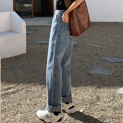 直筒牛仔褲 顯瘦218#新款牛仔褲女高腰顯瘦百搭直筒寬松闊腿褲垂感拖地褲子1F157 依品國際