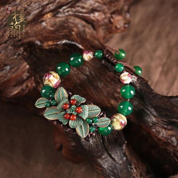 綠色云南民族風手鍊復古風女琉璃瑪瑙手串手工編織寬中國風手飾品