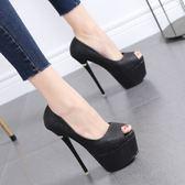 春季新款恨天高魚嘴女鞋細跟高跟鞋15CM超高跟防水臺淺口單鞋  米蘭 shoe