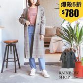 質感雙釦格紋西裝大衣外套-N-Rainbow【A389190】