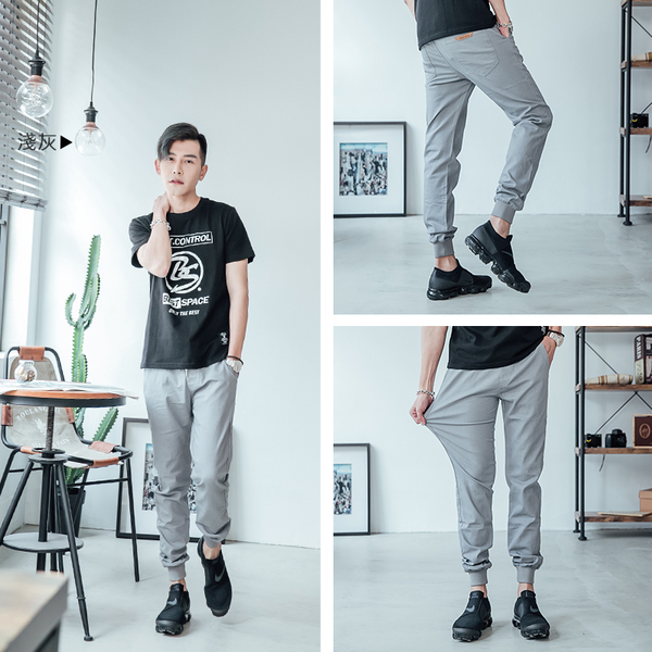 【OBIYUAN】超彈力螺紋束口褲/縮口褲口袋皮標 休閒長褲 共4色【HK4203】
