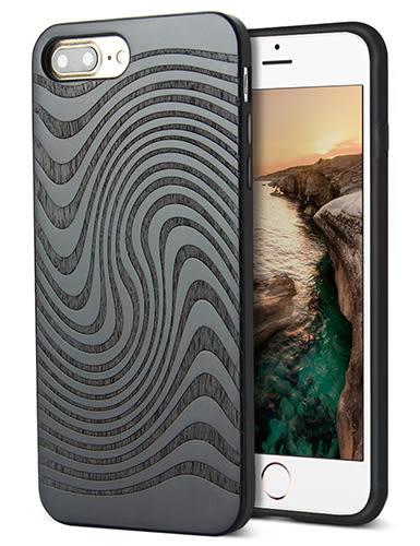 【美國代購】iPhone 7 plus 獨特原木木紋 手工雕花 保護殻, Retro Camera Engraving - Black walnut 款式