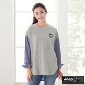 【JEEP】女裝撞色拼接長袖襯衫-灰色