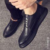 商務正裝黑色韓版潮流皮鞋男士百搭英倫學生潮系帶冬季青年休閒鞋 街頭潮人