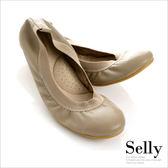 Selly *沙粒*旅行女孩II ‧素面鬆緊口全真皮可攜式軟Q娃娃鞋(附專屬鞋袋) *可可