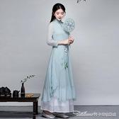 茶服夏裝漢服改良連身裙文藝復古中國風女裝寬鬆中長款雪紡裙禪意茶服 阿卡娜
