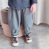 字母小口袋寬鬆加絨長褲 童裝 褲子