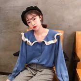 長袖甜美可愛小清新襯衣娃娃領喇叭袖雪紡衫上衣