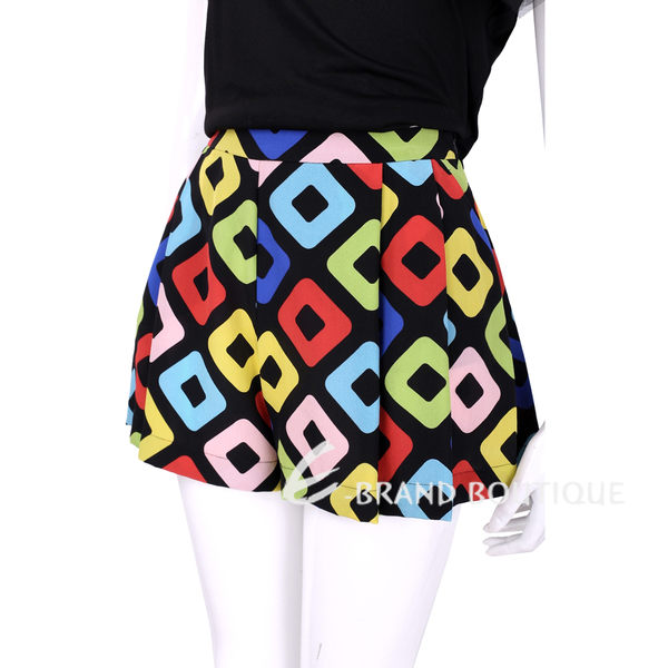 BOUTIQUE MOSCHINO 彩色方塊設計寬口短褲 1620519-94