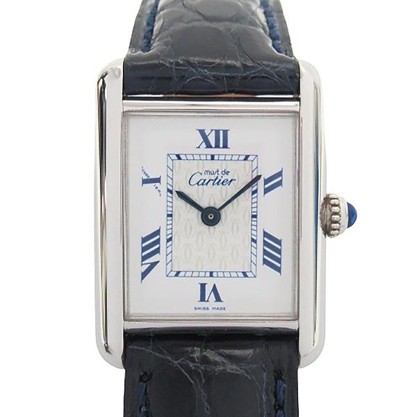 Cartier 卡地亞 Mast tank Vermeil Ladies SV925 藍色鱷魚皮革帶石英腕錶