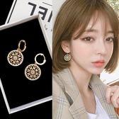 韓國氣質網紅鋯石圓圈耳環女個性百搭耳飾品時尚超仙耳墜純銀耳釘