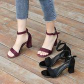高跟涼鞋涼鞋女夏中跟粗跟黑色學生百搭露趾一字扣帶羅馬高跟鞋女瑪麗蘇瑪麗蘇