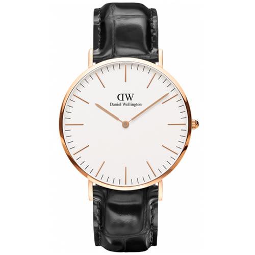 【公司貨】DW Daniel Wellington DW00100014 手錶 40mm 銀框 黑皮帶 現貨!