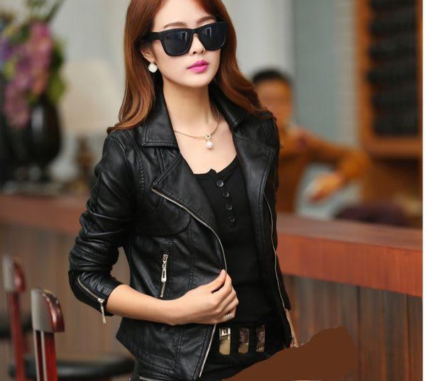 卡樂store...小中大尺碼PU皮衣韓版皮夾克修身顯瘦短外套 2色 黑色 S-4XL #sh2267