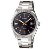 【CASIO】 時尚新貴造型腕錶-黑面X金羅馬(MTP-1302D-1A2)