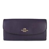 COACH 金馬車LOGO皮革薄型信封長夾(深紫色)-54008