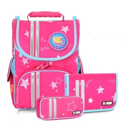 一年級二年級護脊書包 Tiger Family經典小貴族超輕量護脊書包+文具袋+可拆鉛筆盒-粉紅星星兒童書包
