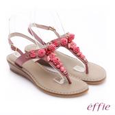 effie 個性涼夏 真皮花飾寶石小坡跟T字涼鞋  桃粉