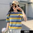 棉t恤女短袖女學生韓版寬鬆版彩虹條泫雅風上衣女新款條紋刺繡 街頭布衣