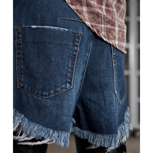 ONETEASPOON BLUEMOON LE WOLVES MID牛仔短褲-藍(女)