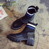 襪子靴彈力靴短靴女春馬丁靴英倫風粗跟厚底機車靴  琉璃美衣