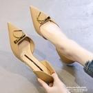低跟鞋 尖頭法式單鞋女2021年新款春款細跟低跟3cm百搭中空小眾高跟鞋 【618 狂歡】