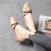 女鞋夏季新款方頭交叉綁帶奶奶鞋女粗跟平底鞋瑪麗珍淺口單鞋 夢想生活家