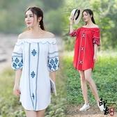大尺碼洋裝民族風修身沙灘棉麻刺繡花一字肩連身裙