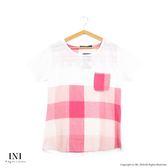 【INI】輕鬆穿著、細緻格紋棉麻緹花上衣.粉色