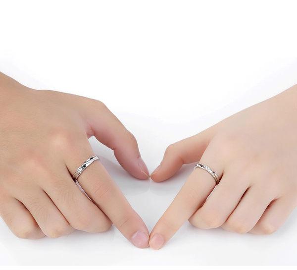正品S925純銀波浪永恆情侣戒指 開口戒指 男女對戒 (0307)
