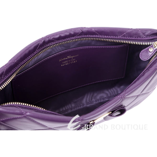 Salvatore Ferragamo VARA QUILTED 菱格小牛皮手拿包(紫色) 1620385-04